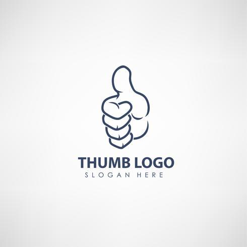 Duim omhoog concept logo sjabloon. Label voor stemmen, bedrijf of organisatie. Vector illustratie