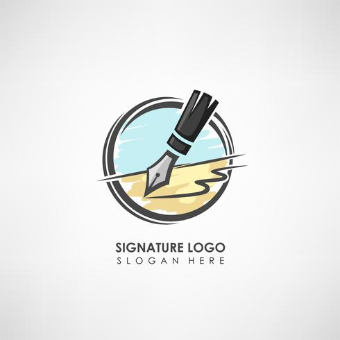 Signature concept logo template with pen drawing. Label template for signature to the treaty or company symbol. Vector illustration