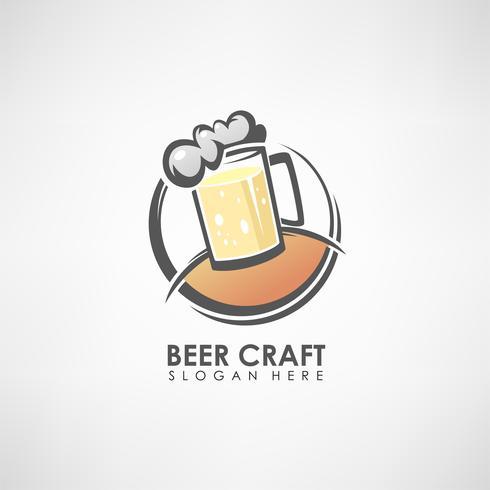 Modèle de logo de concept de bière artisanale. Modèle d'étiquette ou symbole ... Illustration vectorielle