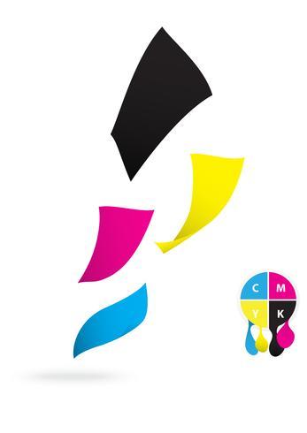 Papel volante de diseño en color CMYK.