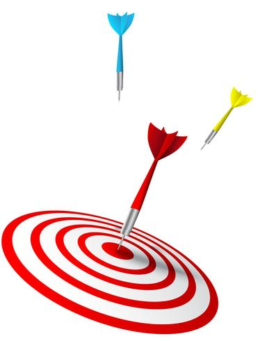dardos de colores que golpean un objetivo