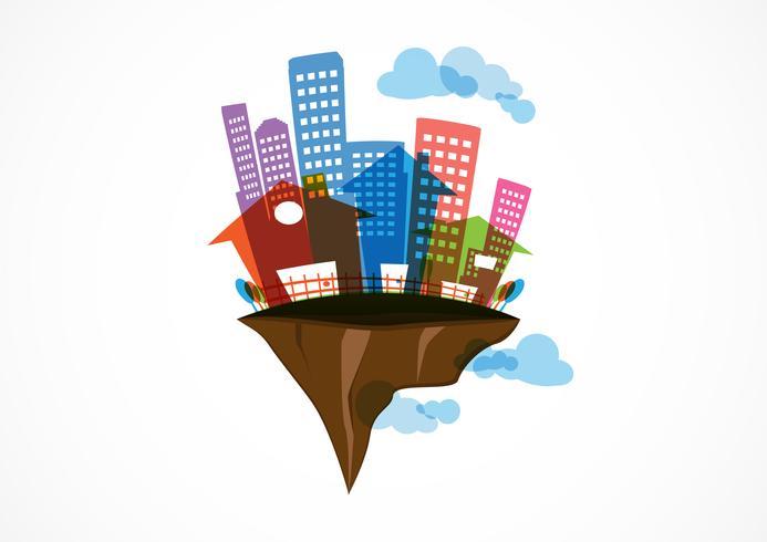 Isla voladora inmobiliaria, futuro abstracto