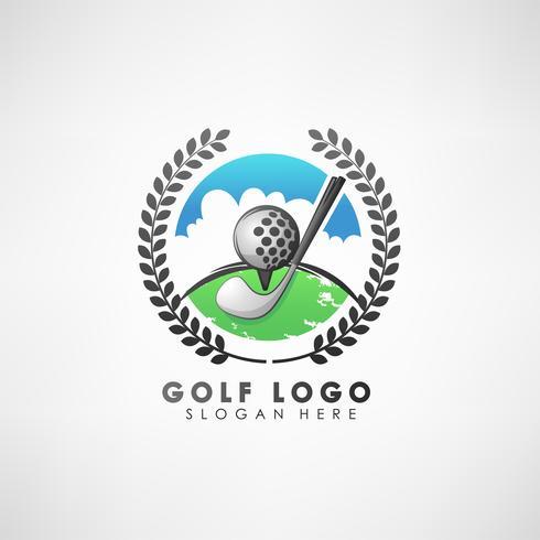 Plantilla de logotipo de concepto de golf con corona de laurel. Etiqueta para torneos de golf, organización y clubes de campo. Ilustración vectorial