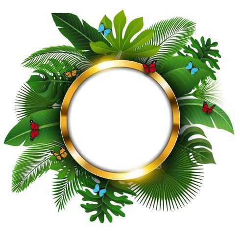 Banner redondo dorado con espacio de texto de hojas tropicales y mariposas. Adecuado para el concepto de naturaleza, vacaciones y vacaciones de verano. Ilustración vectorial