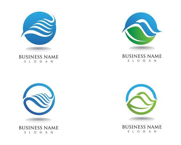Ola naturaleza y logotipo de la hoja.
