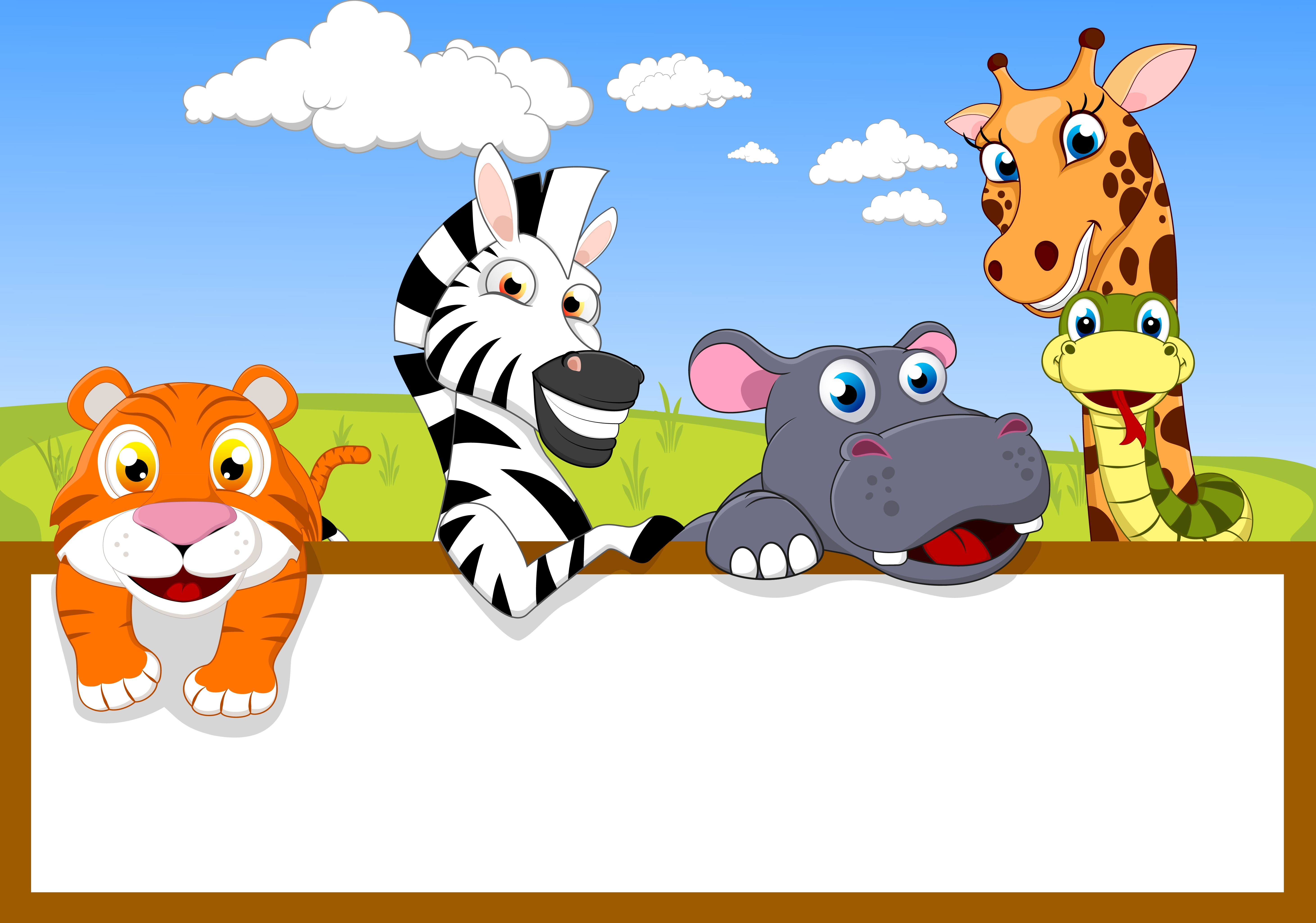 Animal Cartoon With Blank Sign - Download Free Vectors ...