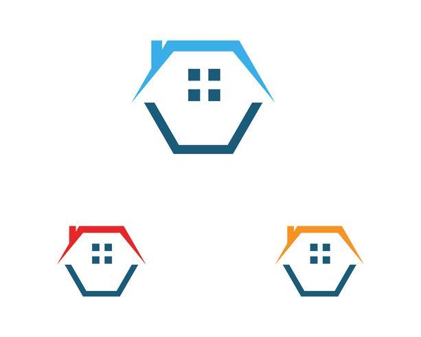 Plantilla de icono de logotipo y símbolos de edificios de casa