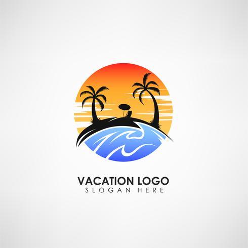 Urlaub Konzept Logo Vorlage. Label für Urlaub und Reisen. Vektor-illustration