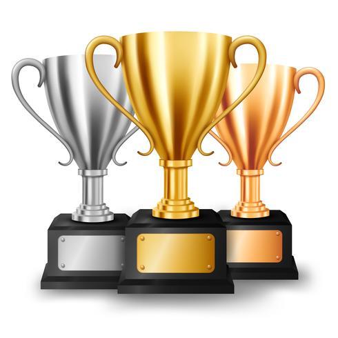 Trofeos de oro, plata y bronce realistas con espacio de texto, ilustración vectorial