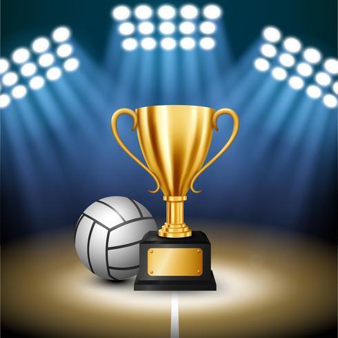 Campeonato de voleibol com troféu de ouro e voleibol com holofotes iluminados, ilustração vetorial