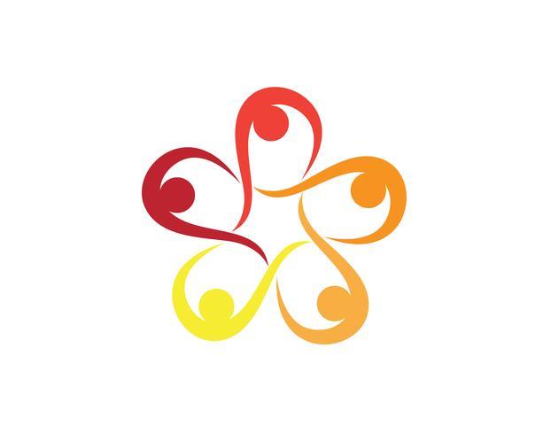 Grupo comunitario equipo personas logo y simbolos estrella.