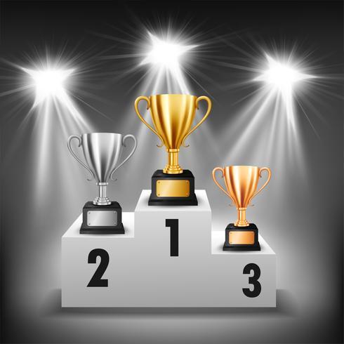 Podio del vincitore con 3 trofei con faretti illuminati, illustrazione vettoriale