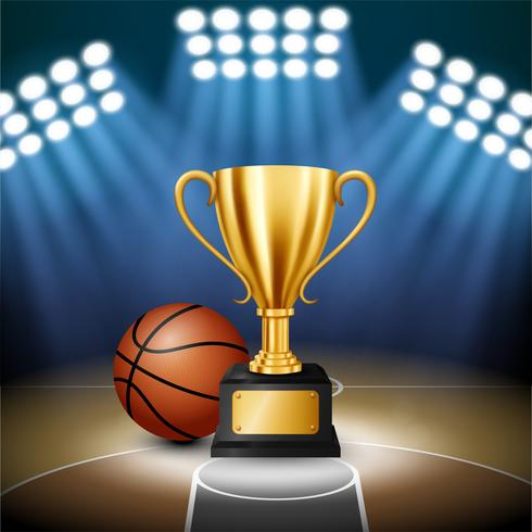 Basketball Championship with Golden Trophy and basketball with illuminated spotlight, Vector Illustration