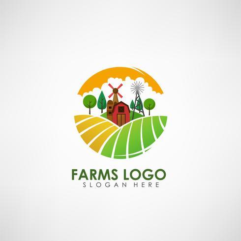 Boerderij concept logo sjabloon. Label voor natuurlijke boerderijproducten. Vector illustratie
