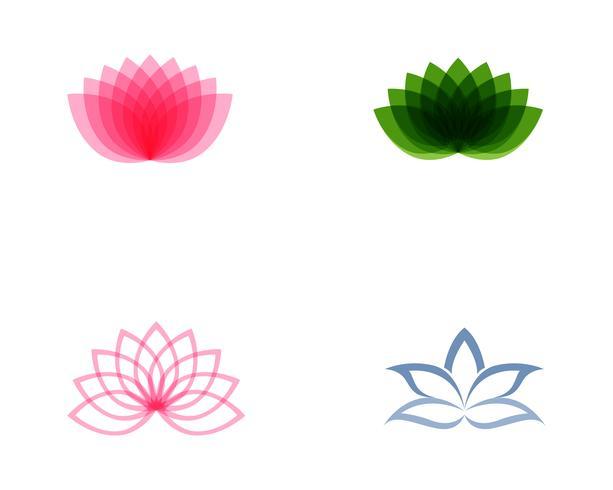 Modelo de vetor de logotipo e símbolos de flor de lótus