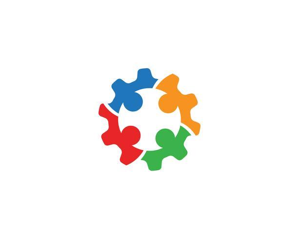 Diseño del ejemplo del icono del vector de Logo Template de la comunidad del engranaje