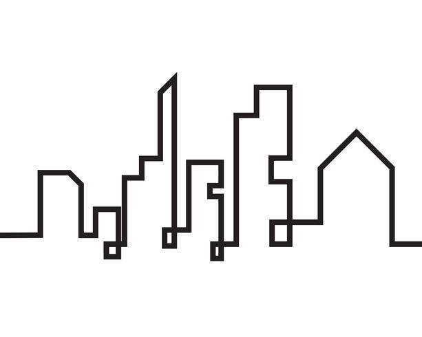 Horizonte de la ciudad moderna. silueta de la ciudad. ilustración vectorial en plano