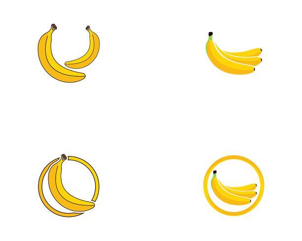 Bananan fruits vector logo de modelo