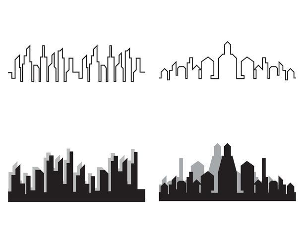Moderne skyline van de stad. stadssilhouet. vectorillustratie in flat vector