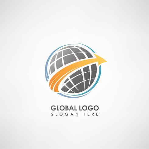 Wereldwijde concept logo sjabloon. Label sjabloon voor bedrijfssymbool. Vector illustratie