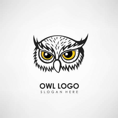 Plantilla de logotipo de concepto de cabeza de búho. Etiqueta para empresa u organización. Ilustración vectorial vector