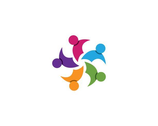 Gemeenschapsmensen groep, logo en sociale pictogram ontwerpsjabloon vector