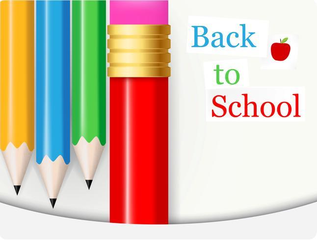 Ritorno a scuola con la matita colorata vettore