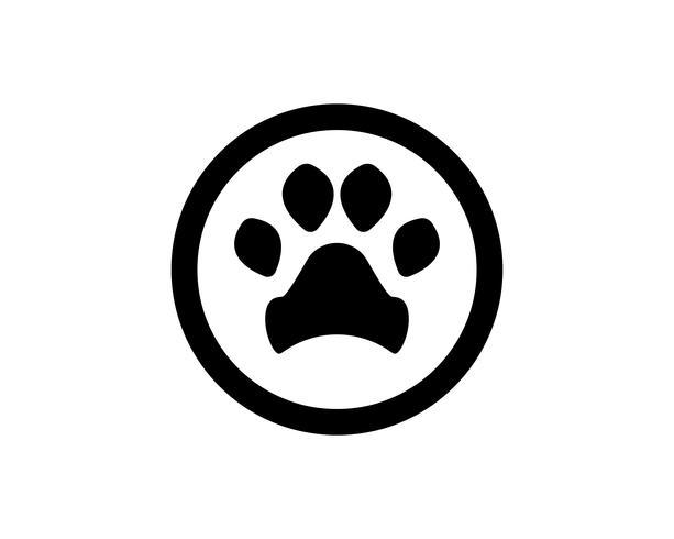 Impresión de pie perro animal mascota logotipo y símbolos vector
