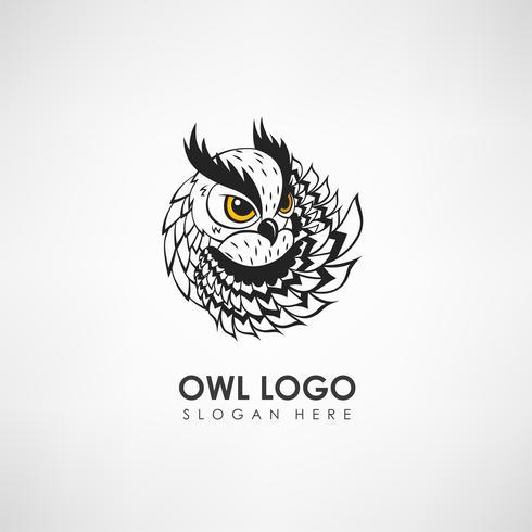 Modello di logo concetto gufo. Etichetta per azienda o organizzazione. Illustrazione vettoriale