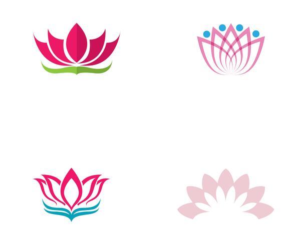 Plantilla de vector de logotipo y símbolos de flor de loto