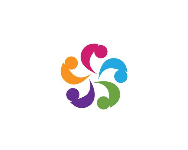 Grupo de personas de la comunidad, logotipo y plantilla de diseño de icono social