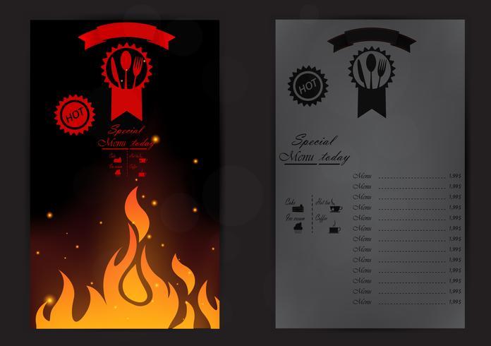 Het ontwerp van het restaurantmenu met vlam vector