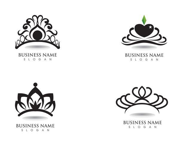 Corona plantilla de logotipo ilustraciones vectoriales vector