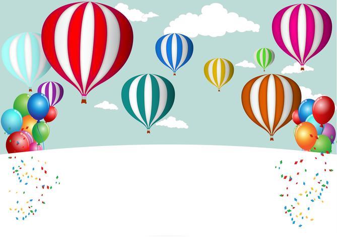 Tarjeta de cumpleaños celebración con globo colorido.