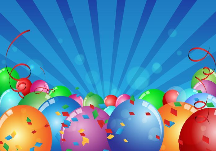 Tarjeta de cumpleaños celebración con globo colorido. vector