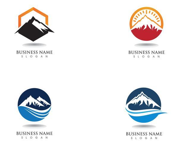 Logotipo de la montaña y símbolos vector plantilla de negocios