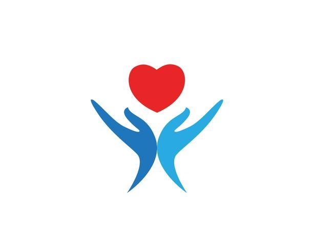 Icônes de modèle logo main aide coeur et symboles vecteur