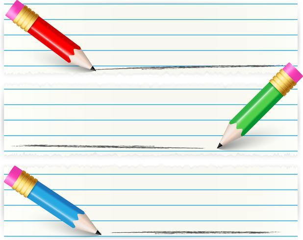 Set van banners met kleurrijke potlood vector