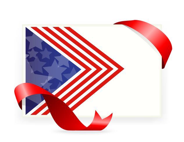 Bandera americana, Tarjetas de visita con lazo. vector