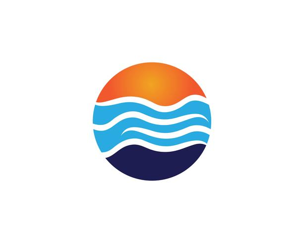 Wave beach logo and symbols vector template
