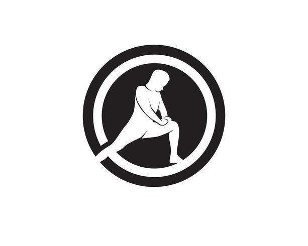 Iconos de vector de símbolos de cuerpo de yoga atlético