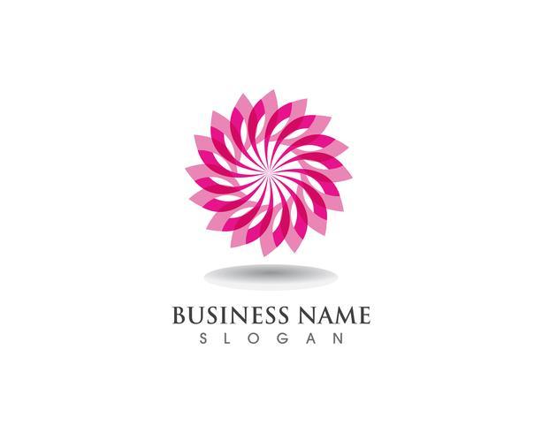 Logo de motivos florales y símbolos sobre un fondo blanco. vector