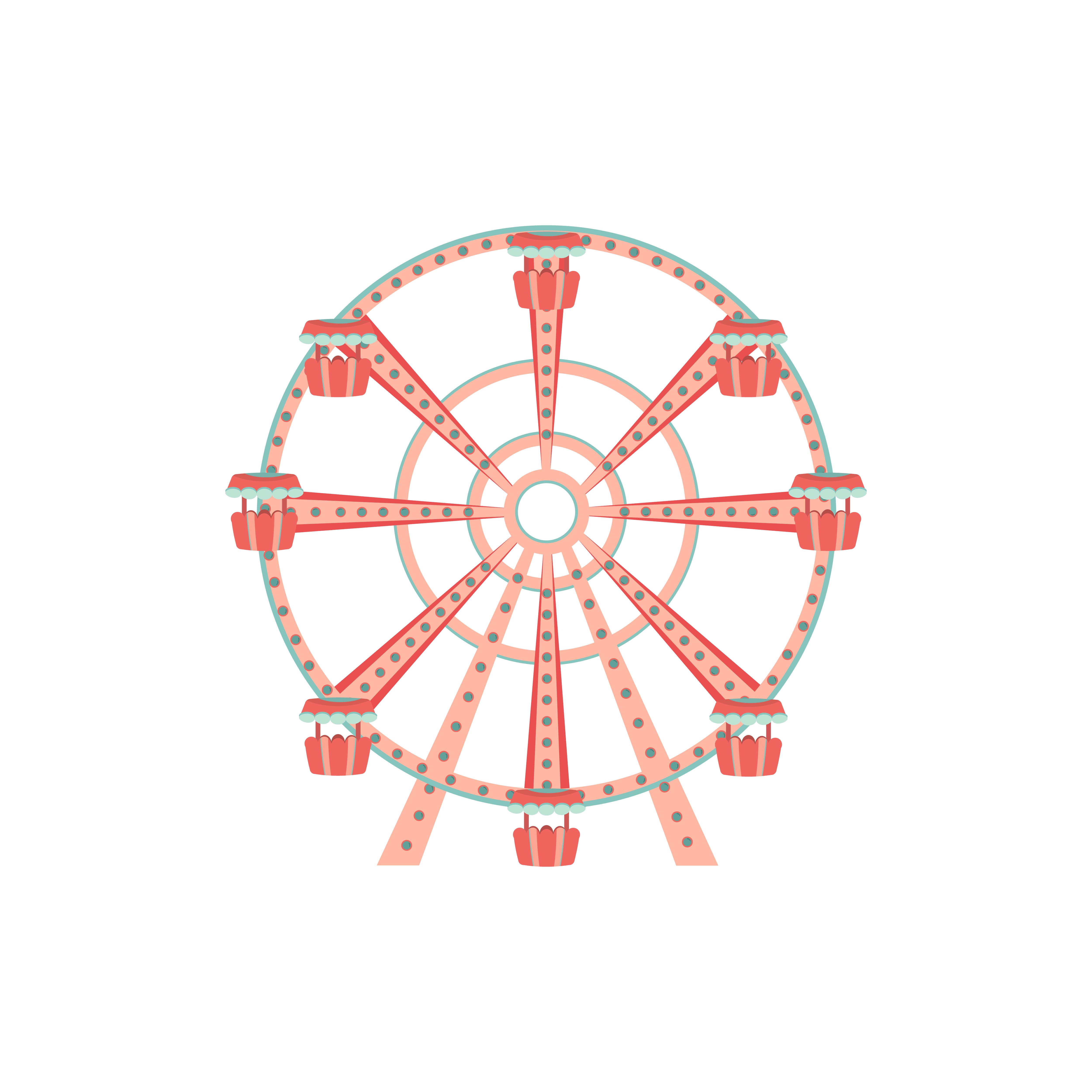 Cartoon Ferris Wheel Icon Amusement Park Ride Download Free Vectors Clipart Graphics Vector Art