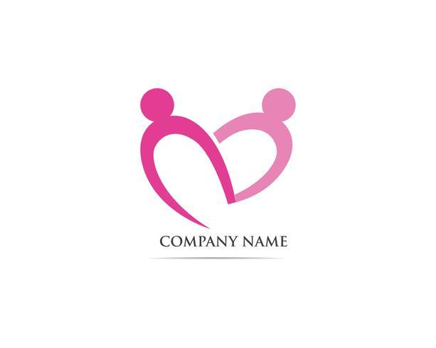 Vetor de modelo de logotipo de cuidados comunitários de adoção