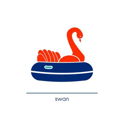 Schwan reiten Symbol. Strichzeichnung Stil.
