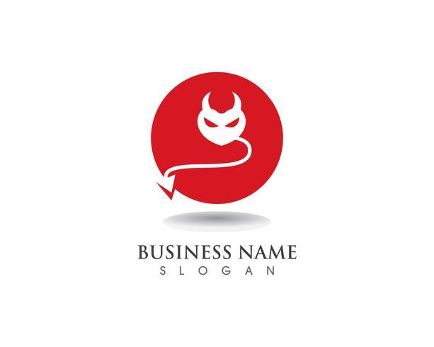 Devil logo röd vektor ikon mall