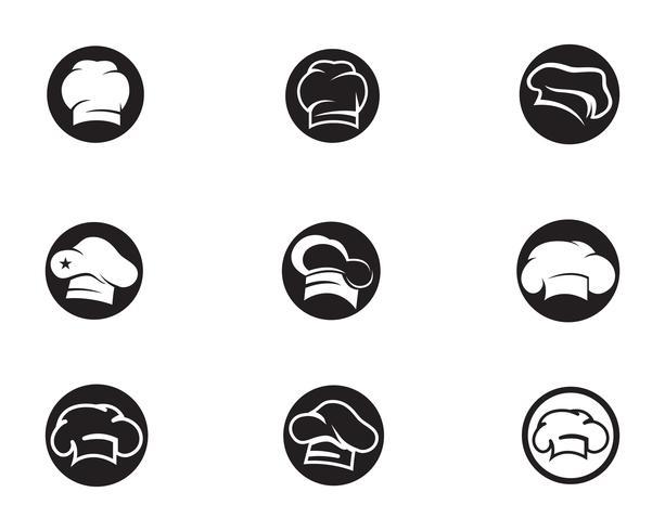 Chef-kok hoed logo en symbolen zwarte kleur vector pictogram
