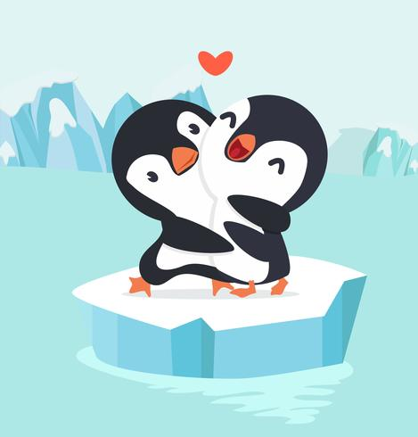 Le coppie del pinguino abbracciano nell'artico del polo nord vettore
