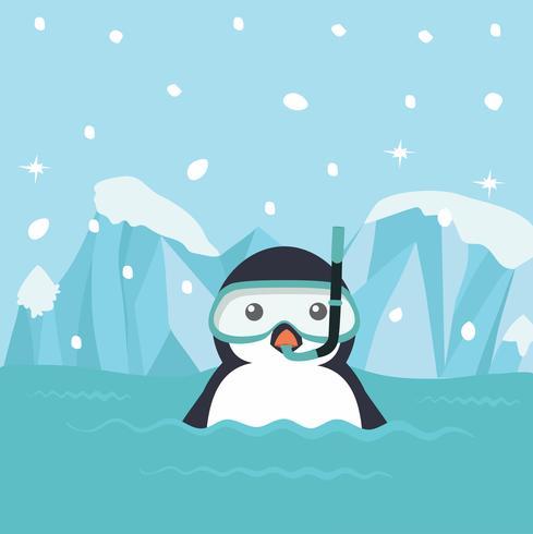 Caricature de pingouin avec équipement de plongée vecteur