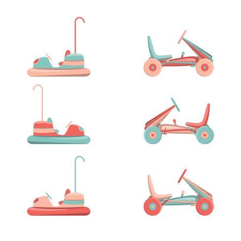 Conjunto de iconos de paseos del parque de atracciones de dibujos animados vector